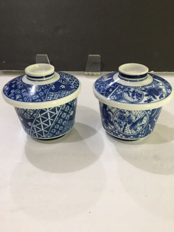 Vintage  Chinese Porcelain Cobalt Blue white Tea Cup with Lid set of Two