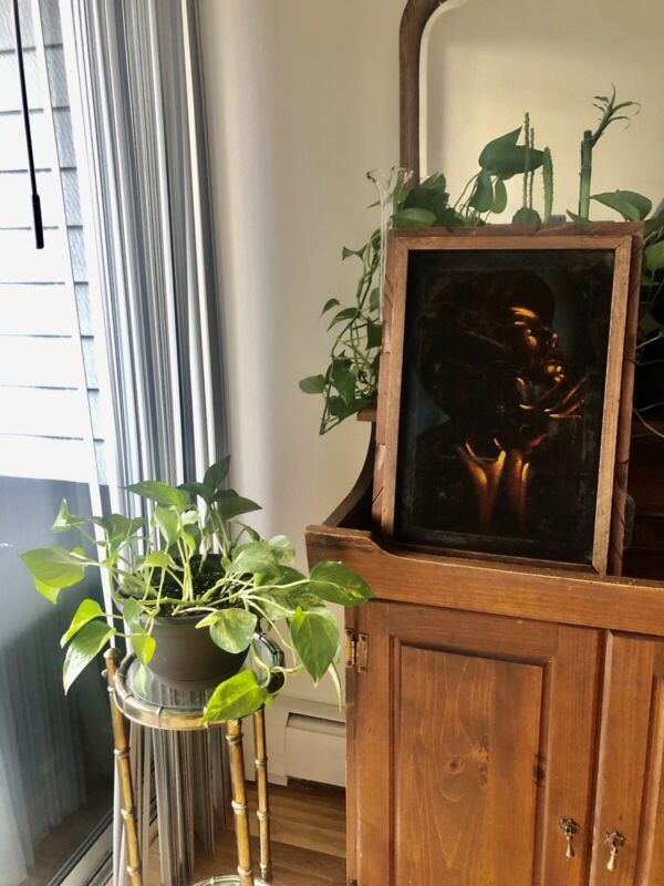 Vintage 1970s black african american velvet framed painting