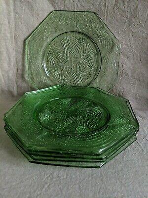"Clear Depression Glassware Dessert Salad Plates Set of 6 Waffle Pattern 7/"" W NEW"