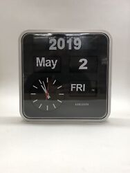KARLSSON Mini Flip Calander Retro Design Clock Silver-Black. Working