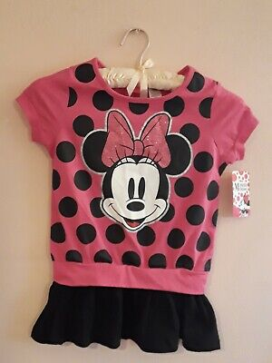 Girls Disney Minnie Mouse Rose Color Top~Glitter Bow~Size M /M -