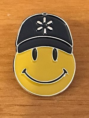 Rare Walmart Lapel Pin Happy To Help Smiley Spark Hat Promo Wal-mart Pinback