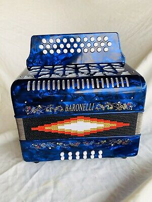 Baronelli Accordion blue 3112 azul en SOL acordeon GCF new NUEVO 31/12 w/ case