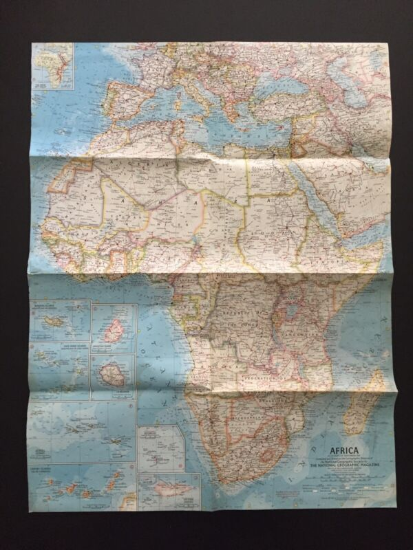 Vintage 1960 National Geographic Society Map of Africa