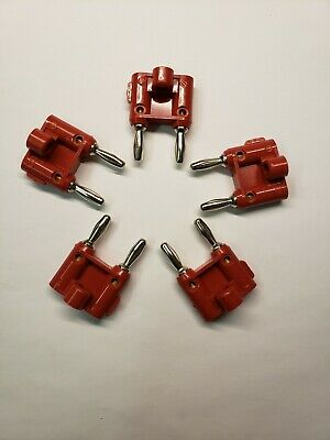 Pomona Mdp-2 Red Double Banana Plug Wire Guide Stackable Solderless Lot Of 5