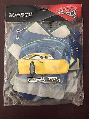 Cars 3 Hinged Jointed Happy Birthday Banner 7.59 Feet 1 Ct Party Supplies New](Happy Birthday Cars)