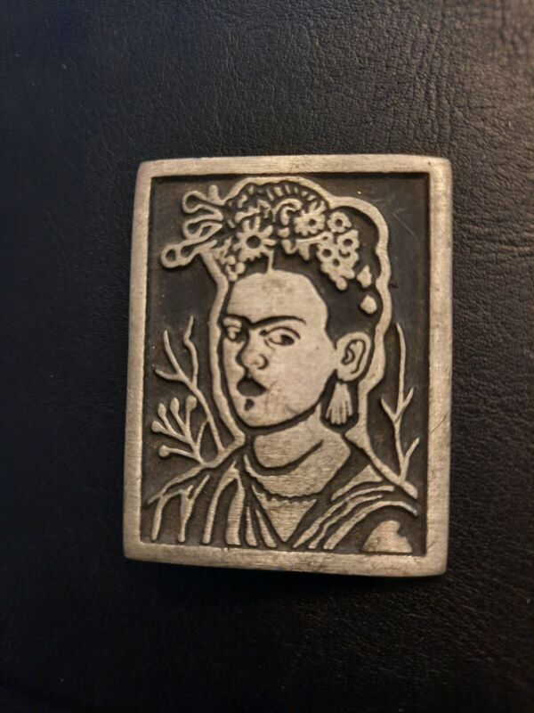 Oxidized Pewter Mexican Artist Frida Kahlo, Pin Brooch, Mexico