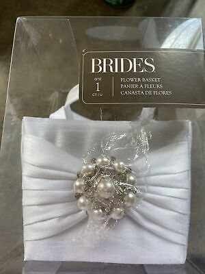 Brides Wedding White Satin Flower Girl Bow Tie Basket Michael's Stores - NIB