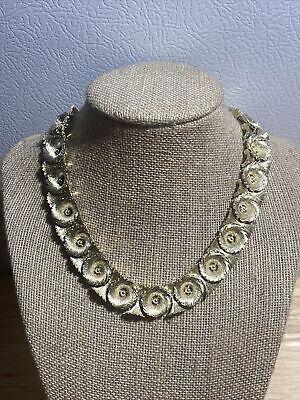 "60s -70s Jewelry – Necklaces, Earrings, Rings, Bracelets Vintage Lisner Choker/Necklace 16"" Rosette Metallic Adjustable 1960s $39.95 AT vintagedancer.com"