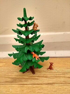 Playmobil fir tree with two squirrels and a mouse