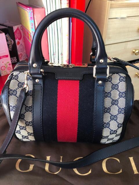 aef59eb6af9c Pre loved Gucci Vintage Web Original GG boston bag- Small | Bags ...