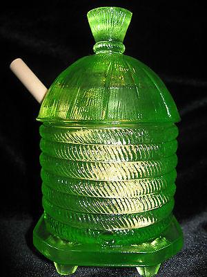 Green Yellow Vaseline glass serving honey pot / mustard jar uranium dish dipper