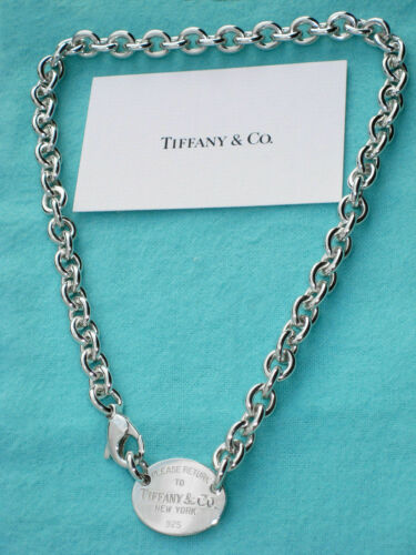 Authentic silver RETURN TO TIFFANY & CO. NEW YORK OVAL TAG CHOKER necklace 16""