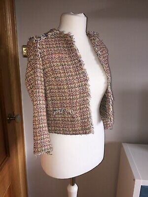 Zara Multicoloured Jacket Festival Tweed Style Size S Blogger Fav for sale  Shipping to Nigeria