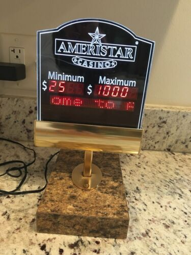 Ameristar Casino Lighted Blackjack Table Sign with Scrolling Message
