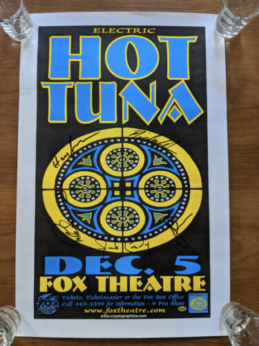 Hot Tuna SIGNED BY ENTIRE BAND Concert Poster - Jorma Kaukonen Jack Casady More