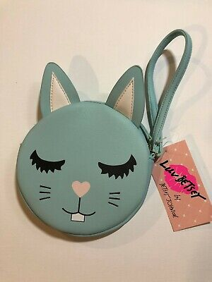 "*NWT* Betsey Johnson ""Luv Betsey"" Bunny Rabbit Coin Purse Wristlet Pouch Aqua"
