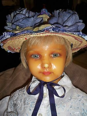 ANTIQUE HAUNTED DOLL WAX HEAD GLASS EYES HUMAN HAIR MANNEQUIN 1800 MYSTERY DOLL