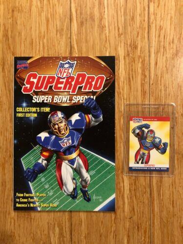 NFL SUPERPRO COMIC #1 PLUS TRADING CARD! Super Bowl Special, Marvel, NM
