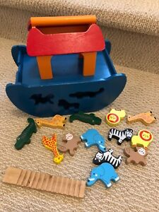Wooden Noah's ark boat and animals