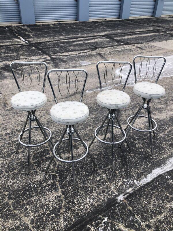 "Vintage Mid Century Modern Swivel Bar Stools Chairs Seat 29"" Back 40"""