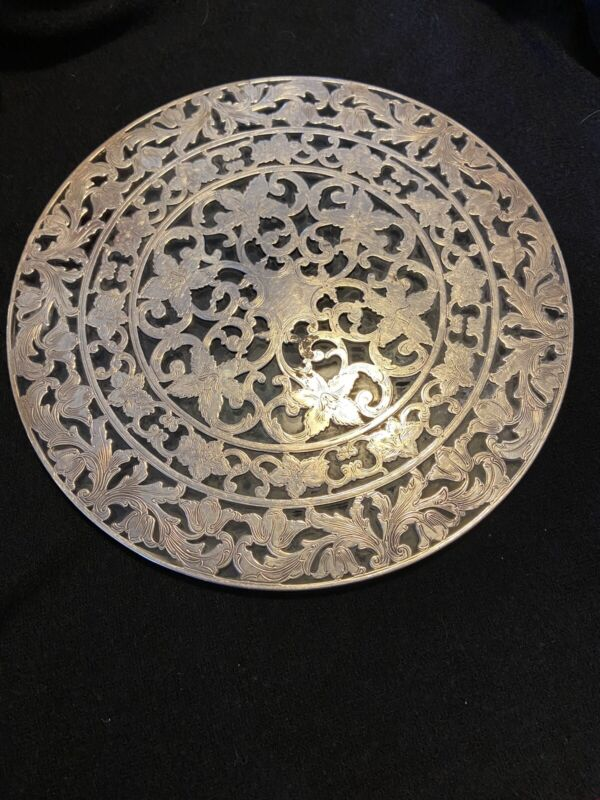 Antique Intaglio Sterling & Glass Trivet/ Hot Plate