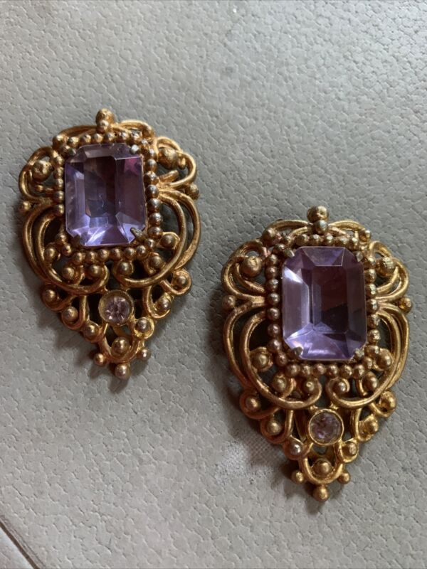 Vintage Pair Art Deco HUGE Dress Shoe Clip Purple Crystal Rhinestone Ornate