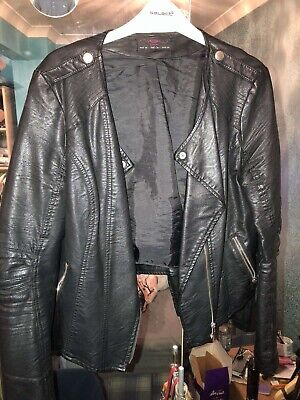 New Look Black Leather Jacket Size 14