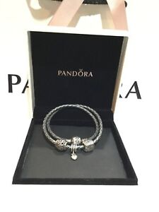 Authentic Pandora Leather Bracelet with 3 charms