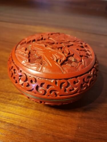 Vintage Chinese Carved Cinnabar Round Box on Blue Enamel