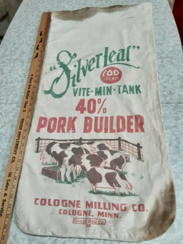 VINTAGE feed seed corn sack bag one sided sign SILVERLEAF COLOGNE MINN clean A+