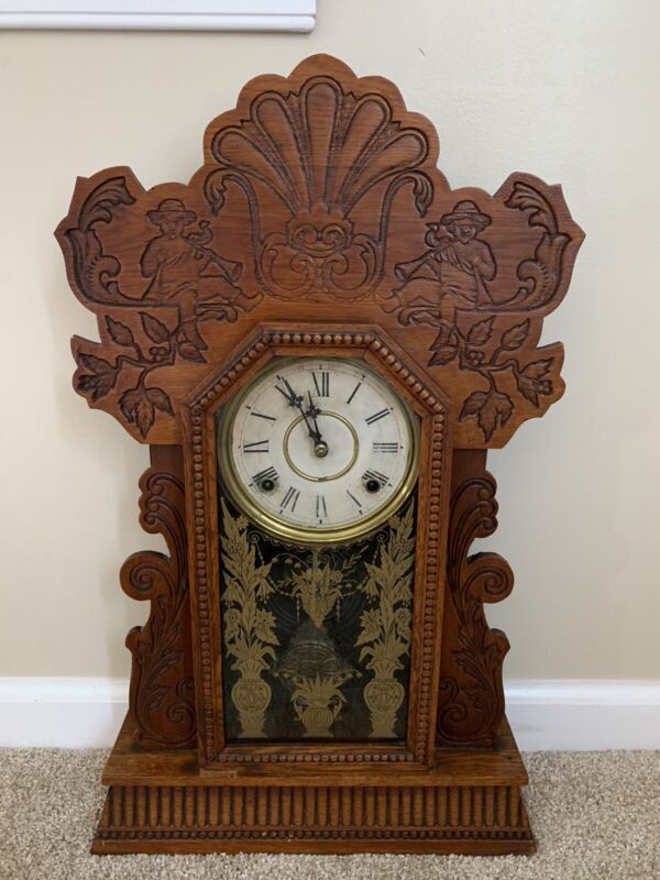 Antique 1901 William L. Gilbert Gingerbread Navy 25 Mantle Clock No Key