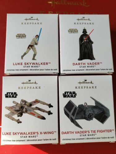 NIB 2020 Hallmark Ornament  Star Wars Mini set of 4 Darth Vader Luke Skywalker