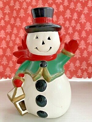 Vintage Christmas Ceramic Mold Frosty Snowman Light Up Figurine Holiday 8""