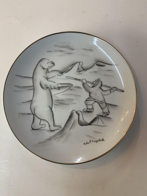 Vintage Robert Mayokok Eskimo Alaska Inuit Walrus Hunting Plate Rare Image