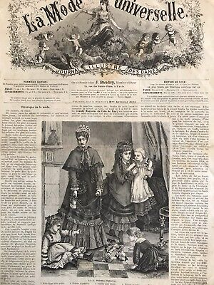 Rare 1870's sewing patterns (tracings) MODE UNIVERSELLE  Jan 1,1875 DOLL,PURSE