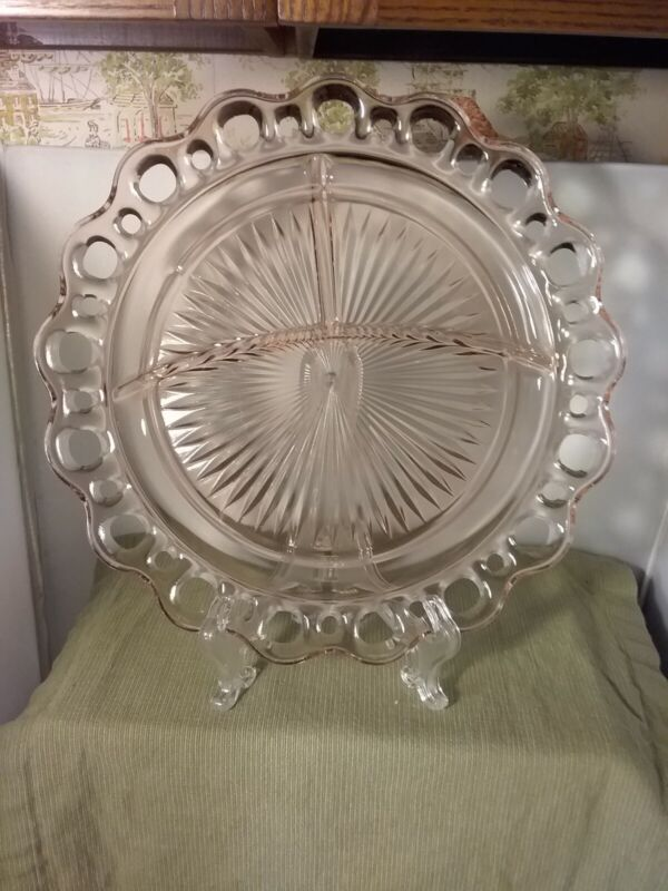 """Old Colony Open lace edge pink Pink depression glass, 3 part plate 10 1/2"""" d"""