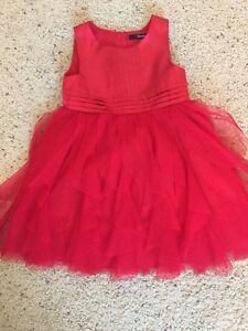 3T Girls Red Satin + Chiffon Dress - excellent cond