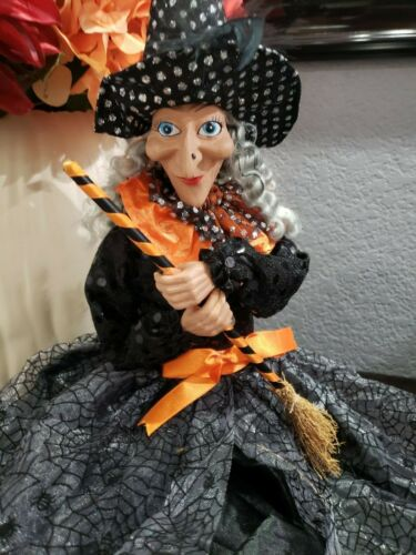 """HALLOWEEN WITCH DOLL SHELF SITTER TABLETOP HOME DECOR 29.5"""""""