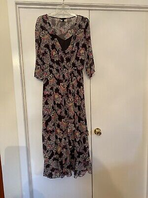 Banana Republic Printed Floral 3/4 Sleeve Maxi Dress Size 8  Black Cami Lined