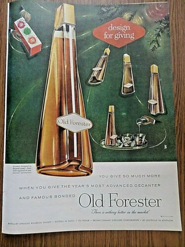 1956 Old Forester Whiskey Ad Christmas Theme Most Advanced Decanter