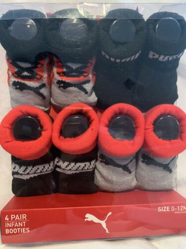 NEW PUMA Infant Booties 0-6 Months Black Red  And Gray Baby