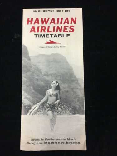 JUNE 6,1969 HAWAIIAN AIRLINES TIMETABLE & FARES