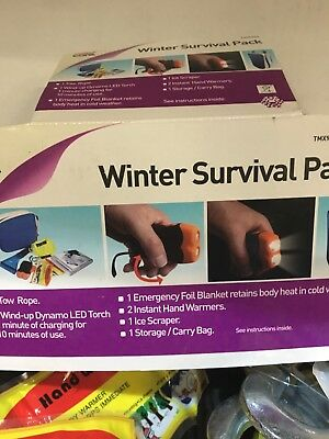 AUTOCARE WINTER SURVIVAL KIT IDEAL GIFT BLANKET-HAND WARMERS-SCRAPER-ROPE-TORCH-