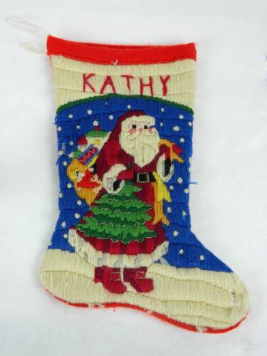 Vintage Knit Christmas Tree Presents Santa Claus Kathy Personalized Stocking