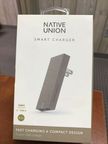New Native Union Smart Charger Slim 2-Port Foldable USB-A Universal  - TAUPE