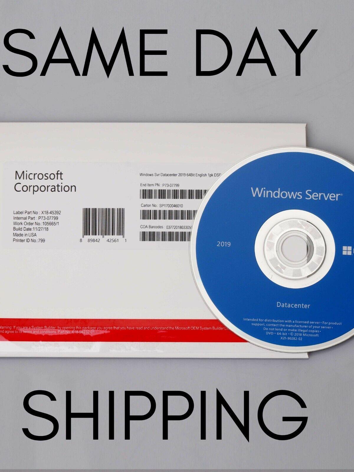 Microsoft Windows Server 2019 Datacenter x64 bit - 16 core + DVD LICENSE KEY