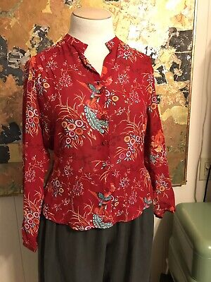- Monterey Bay Clothing Company Red Bird Pattern Viscose Tie Back Blouse 12P