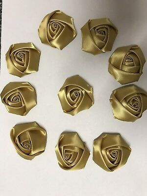 "10 Antique Gold Handmade 4d Satin Rose Flower 2"",  Bouquet,Corsage,Wedding,Craf"
