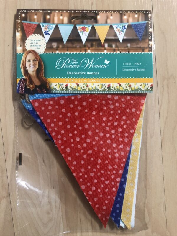 The Pioneer Woman Printed Floral & Dots Decorative Multipurpose Banner New